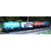 Set of 4 SNCF OCEM 29 tank wagons in wine liveries