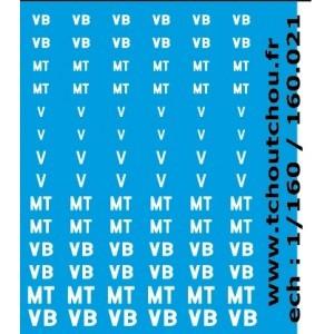 Sheet of SNCF letterings  V, VB and MT