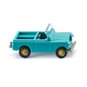 Land Rover ouverte bleu turquoise