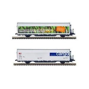 Set de 2 wagons Hbbills-uy SBB Cargo et MIGROS