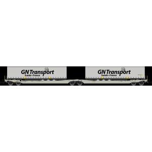 Porte-remorque double Sdggmrs AAE Cargo + remorques GN Transport