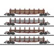 Coffret de 4 wagons plats DB transport sidérurgique