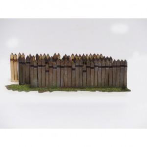 Clôture haute en traverses bois