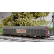 Wagon bâché long Rils SNCF EVIAN patiné