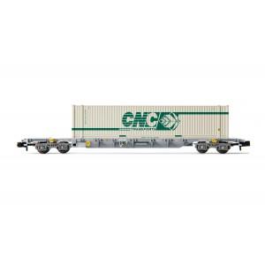 Wagon plat Sgss SNCF Novatrans + container CNC