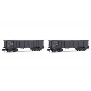 Set de 2 wagons tombereaux Eaos E79 SNCF chargé de ferrailles