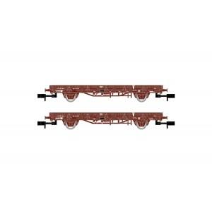 Set de 2 wagons plats K5 SNCF chargés de traverses béton