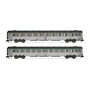 Set de voitures DEV inox longues A9 et B10 SNCF époque IVb