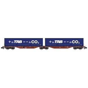 Wagon Sggmrss 90 TOUAX + 2 caisses mobiles TAB - de CO2
