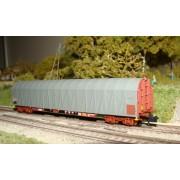 Wagon bâché long Rils SNCF gris avec feux de fin de convoi